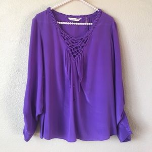 Rebecca Taylor Purple Braided Open-Back Blouse