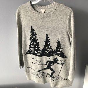 Gray winter scene sweater