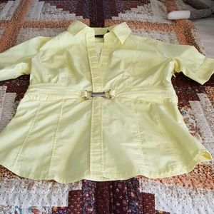 Dressy yellow fitted button down
