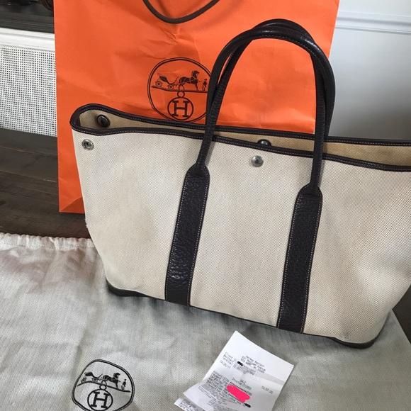 Hermes Handbags - Authentic Hermes Garden Party Tote 36 toile Bag 81fe9da10fae1