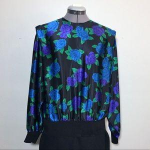 Vintage Shapely Bright Blue & Purple Floral Blouse