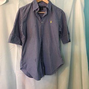 Blue and White Polo Dress Shirt