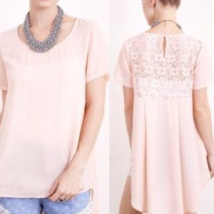 Tops - NWT Blush Lace Back Hi-Low Blouse