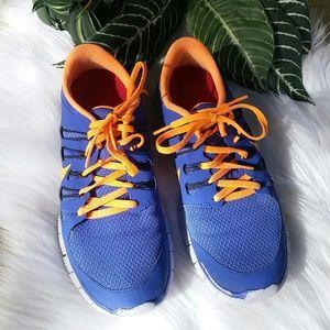 Nike blue and orange tennis shoes