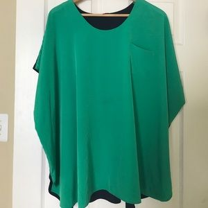 VINCE CAMUTO Green Blue Colorblock Blouse Top XL