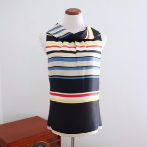 Silk Blouse Stripes Nautical Back Button 4 Small