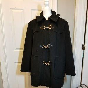 Calvin Klein Black pea coat with toggle closures