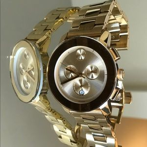 MOVADO Bold Gold Unisex Chronograph Watch