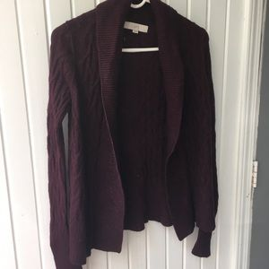 The Loft Cranberry Red Cable Knit Cardigan XS