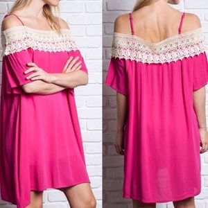 Dresses & Skirts - NWT Off the Shoulder Crocheted Dress or Cover-Up