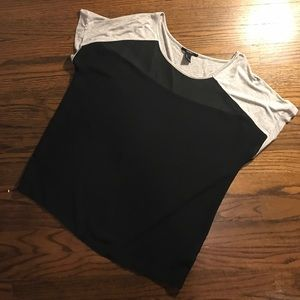 Forever 21 Black Chiffon Top w/gray sleeves