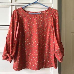Floral Long Sleeve Top XS Loose Fit Lauren Conrad
