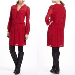 ⭐️ NEWARRIVAL Anthropologie Red Lace Peasant Dress