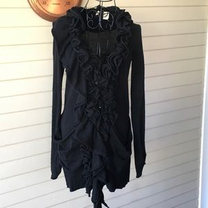Anthro Moth Black Ruffle Front Button Up Cardigan