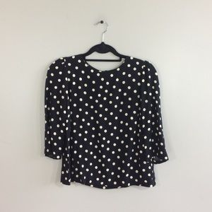 Zara 3/4 Sleeve Back Zipper Polka Dot Top