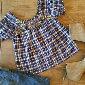 Free People Plaid Embroidered Peasant Top