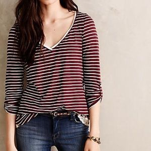 Meadow Rue Cassia Maroon Stripe Lace Accent Top