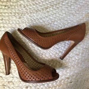 Michael Kors perforated peep toe heels
