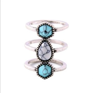 NWT Turquoise Triple band ring