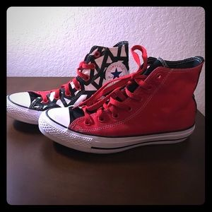 Converse red black white high women's 7.5 custom