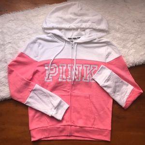 PINK Full Zip logo Hoodie