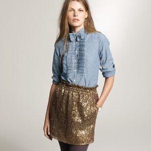 J.Crew Gold Sequined Skirt