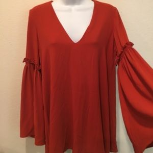 Zara Trafaluc V-Neck Long Bell Sleeve Blouse Top