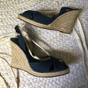 Banana Republic ankle tie wedges