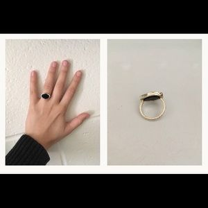Black Onyx Ring: Art Deco and Gold Plated