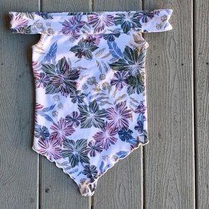 Free People OTS Floral Bodysuit