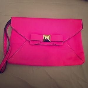 Hot Pink Bow Clutch