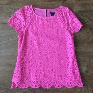 Pink J.crew lace blouse top