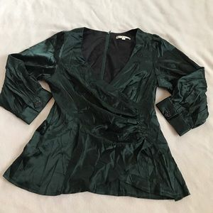 Nanette Lepore Emerald Green Ruched Side Blouse
