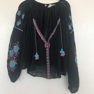 Black Aztec Free People blouse!