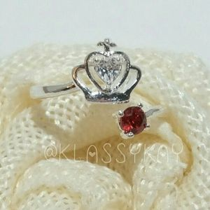 S925 Ruby CZ Crown Ring