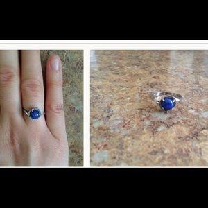 Antique Purple Jade Gem Marble Ring. 14KWG