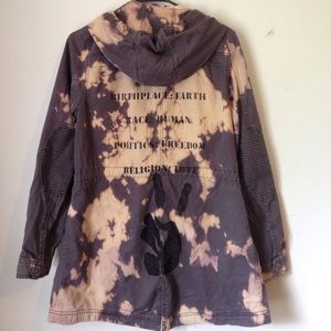 Upcycled Grunge Hippie Bleached Dyed Jacket