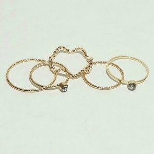 Gold Rhinestone Midi Ring Set