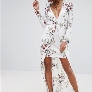 ASOS Boohoo floral long sleeve high low dress