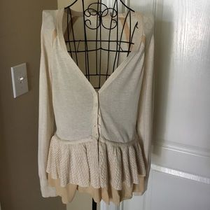 Anthropologie Knitted & Knotted Ivory Cardigan, S