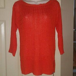 J. Crew XS 100% linen orange sweater