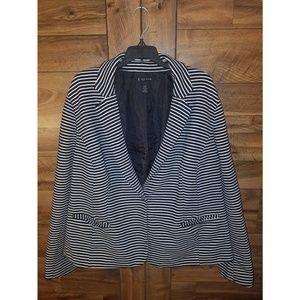 I.N.C Woman Size 24W Black & White Striped Blazer