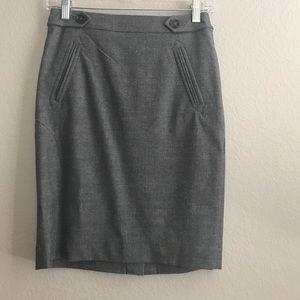 Ann Taylor Pencil Skirt. Button and tab detail.