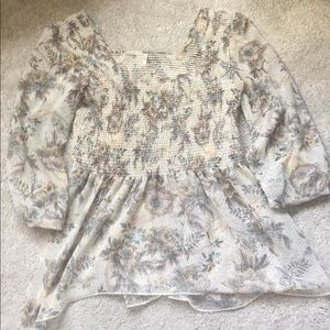 Free People Floral Leopard Blouse