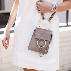 Auth Chloe Faye Suede Small Bracelet Crossbody Bag