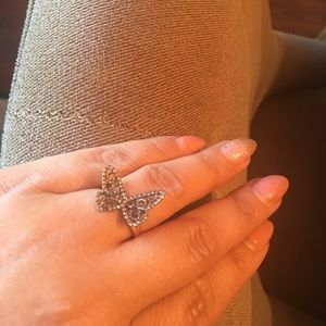 Natural champagne diamond butterfly ring