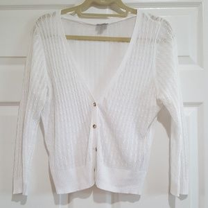 White v-neck cardigan
