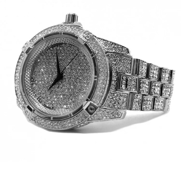 fde25e28fd98 White Gold Iced Out cz Diamond Men s Luxury Watch
