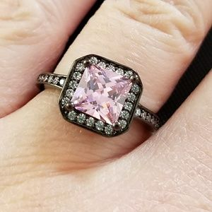 Pink cubic zirconia 18k black gold plated ring