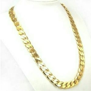 "24"" 10mm Solid 24K Gold Filled Curb Chain Necklace"